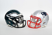 General overall view of Philadelphia Eagles and New England Patriots helmets. The Eagles will play the Patriots in Super Bowl LII on Sunday, Feb. 4, 2018 in the 52nd meeting between the AFC and the NFC Champions.