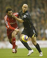 Photo: Aidan Ellis.<br /> Liverpool v Watford. The Barclays Premiership. 23/12/2006.<br /> Liverpool's Jermain Pennant (L) battles with Watford's Gavin Mahon