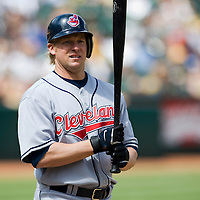 6 April 2008: Indians' #8 Jason Michaels watches the first base coach during the Cleveland Indians 2-1 victory over the Oakland Athletics at the McAfee Coliseum in Oakland, CA.