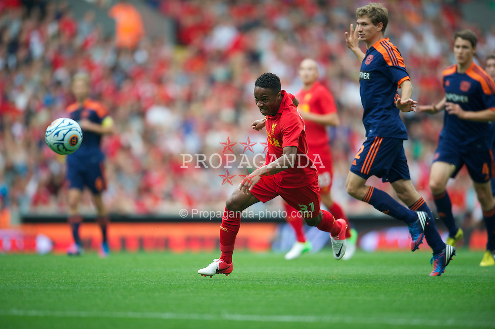 LIVERPOOL, ENGLAND - Sunday, August 12, 2012: Liverpool's Raheem Sterling in action against Bayer 04 Leverkusen during a preseason friendly match at Anfield. (Pic by David Rawcliffe/Propaganda)