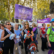 Hundreds of pensioner continues protest The 1950s Women's State Pension Campaign, Back to 60, We Paid In, You Paid Out and other women's pension groups will join together 'Shoulder to Shoulder' as #OneVoice chanting Theresa May how many people you robs today demand their pension to be pay now not when we will dead at Parliament Square, London, UK. 10 October 2018.