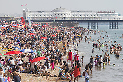 August 27, 2017 - Brighton, East Sussex, United Kingdom - Brighton, UK. Thousands of members of the public take to the beach in Brighton and Hove on the August Bank holiday Sunday. (Credit Image: © Hugo Michiels/London News Pictures via ZUMA Wire)