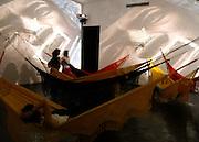 Brumadinho_MG, Brasil...Pessoas no Centro de Arte Contemporanea Inhotim (CACI). Na foto Quasi-cinemas C5- Hendrix War (1973) composta de redes de dormir...People in Inhotim Contemporary Art Center (CACI). In this photo Quasi-cinemas C5- Hendrix War (1973) with hammocks...FOTO: BRUNO MAGALHAES / NITRO..