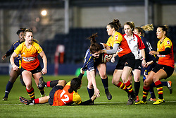 Megan Varley of Worcester Warriors Women is tackled by Hallie Taufoou of Richmond Women - Mandatory by-line: Robbie Stephenson/JMP - 11/01/2020 - RUGBY - Sixways Stadium - Worcester, England - Worcester Warriors Women v Richmond Women - Tyrrells Premier 15s