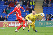 Wales forward Gareth Bale makes a challenge during the Friendly match between Wales and Belarus at the Cardiff City Stadium, Cardiff, Wales on 9 September 2019.