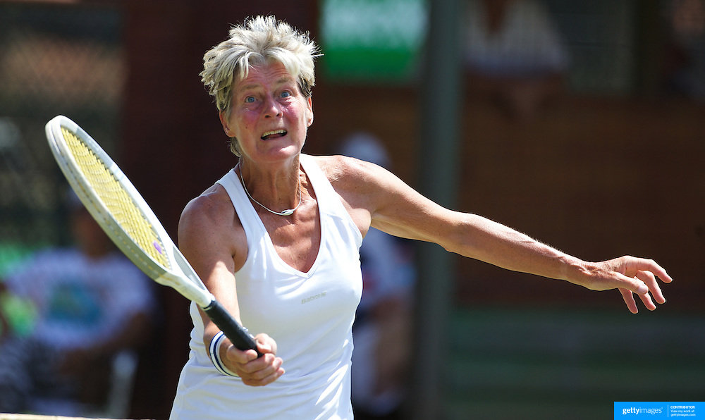 Ellie Krocke, Nederlands,  in action in the 65 Womens Singles  during the 2009 ITF Super-Seniors World Team and Individual Championships at Perth, Western Australia, between 2-15th November, 2009.