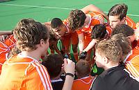 ROTTERDAM -  Teamhuddle Netherlands .    Test Match Hockey : Netherlands Boys U18  v England U18 . COPYRIGHT KOEN SUYK