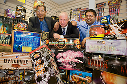 Father and Son team Jimmy Singh managing director and Paul Singh Director of Jimmy's Fireworks with Andy Tyas Natwest Senior Manager for Commercial Banking at Jimmy's Fireworks new Showroom on the Wentworth Industrial Park, Tankersley, The biggest in the UK 27 July 2010 .Images © Paul David Drabble..