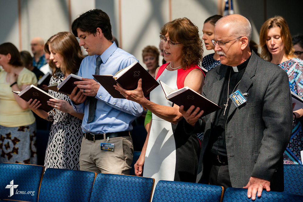 Family and guests attend a Service of Installation for the Rev. Robert Zagore, executive director in the LCMS Office of National Mission, in the chapel of the International Center of The Lutheran Church–Missouri Synod on Wednesday, May 30, 2018, in St. Louis. LCMS Communications/Erik M. Lunsford