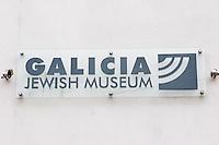 Galicia Jewish Museum sign in Kazimierz Krakow Poland