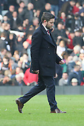 Bristol City manager, Lee Johnson not looking happy during the Sky Bet Championship match between Fulham and Bristol City at Craven Cottage, London, England on 12 March 2016. Photo by Matthew Redman.