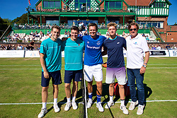 LIVERPOOL, ENGLAND - Sunday, June 24, 2018: Liverpool doubles duo brothers Neal and Ken Skupski, (GBR) Robert Kendrick (USA) Adam Jones (GBR) and tournament director Anders Borg during day four of the Williams BMW Liverpool International Tennis Tournament 2018 at Aigburth Cricket Club. (Pic by Paul Greenwood/Propaganda)