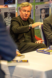Pictured: Charlis Nicholas<br /> Veteran commentator Archie MacPherson was at Hampden Park today as he announced the publication of his latest book:  Adventures in the Golden Age - Scotland in the World Cup Finals 1974-1998, due to be published on 26 April  MacPherson was joined by former and  current Scotland manager Craig Brown and Alex McLeish respectivly  along with ex-Celtic, Arsenal and Scotland player Charlie Nicholas who was Archie's co-commentator at the Mexico World Cup. <br /> <br /> Ger Harley | EEm 25 April 2018