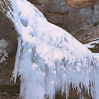 Hanging ice of the frozen Cedar Falls, Hocking Hills State Park, near Logan, Ohio