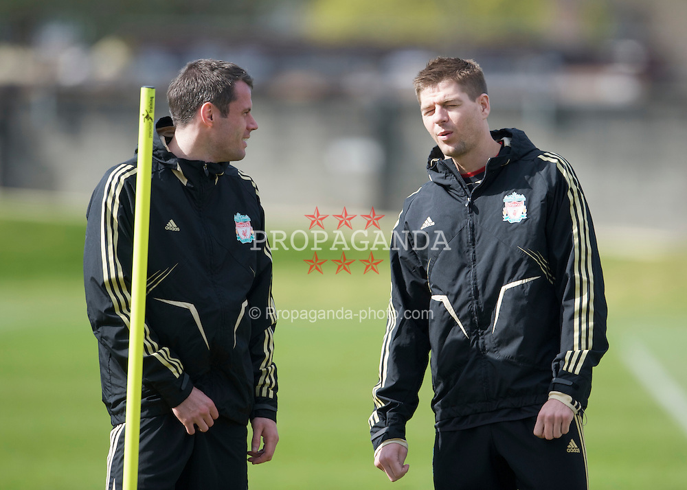 LIVERPOOL, ENGLAND - Tuesday, April 7, 2009: Liverpool's Jamie Carragher and captain Steven Gerrard MBE training at Melwood ahead of the UEFA Champions League First Quarter Final 1st Leg against Chelsea. (Photo by David Rawcliffe/Propaganda)