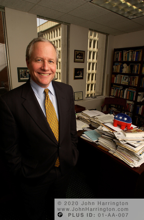William Kristol, editor of the Weekly Standard which is an American neoconservative political magazine published 48 times per year, poses for photos.