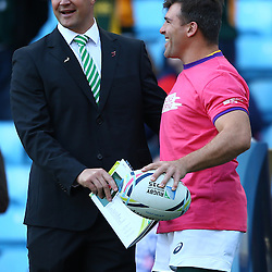BIRMINGHAM, ENGLAND - SEPTEMBER 26:  Bob Skinstad Supersport rugby commentator with Schalk Brits of South Africa during the Rugby World Cup 2015 Pool B match between South Africa and Samoa at Villa Park on September 26, 2015 in Birmingham, England. (Photo by Steve Haag/Gallo Images)