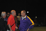 LSU heach coach Les Miles attends the Lafayette High vs. Shannon in Shannon, Miss. on Friday, September 16, 2011. Lafayette won..