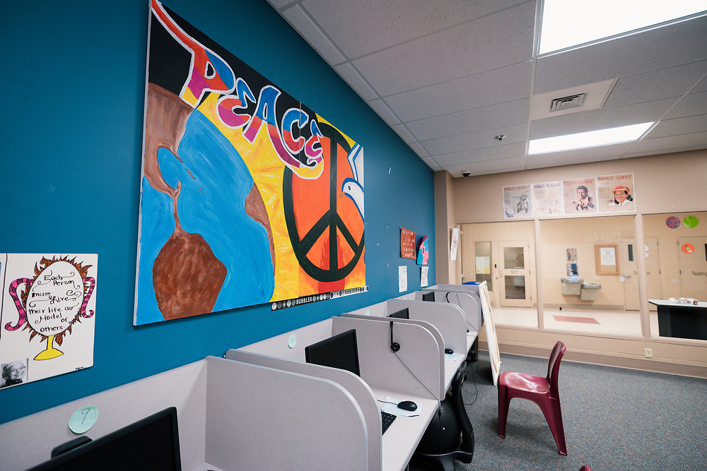 A shared classroom inside the Juvenile Detention Center at the City County Building in Madison, Wisconsin, Wednesday, June 12, 2019.