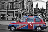 London - Vodafone Taxi Cab in Trafalgar Square