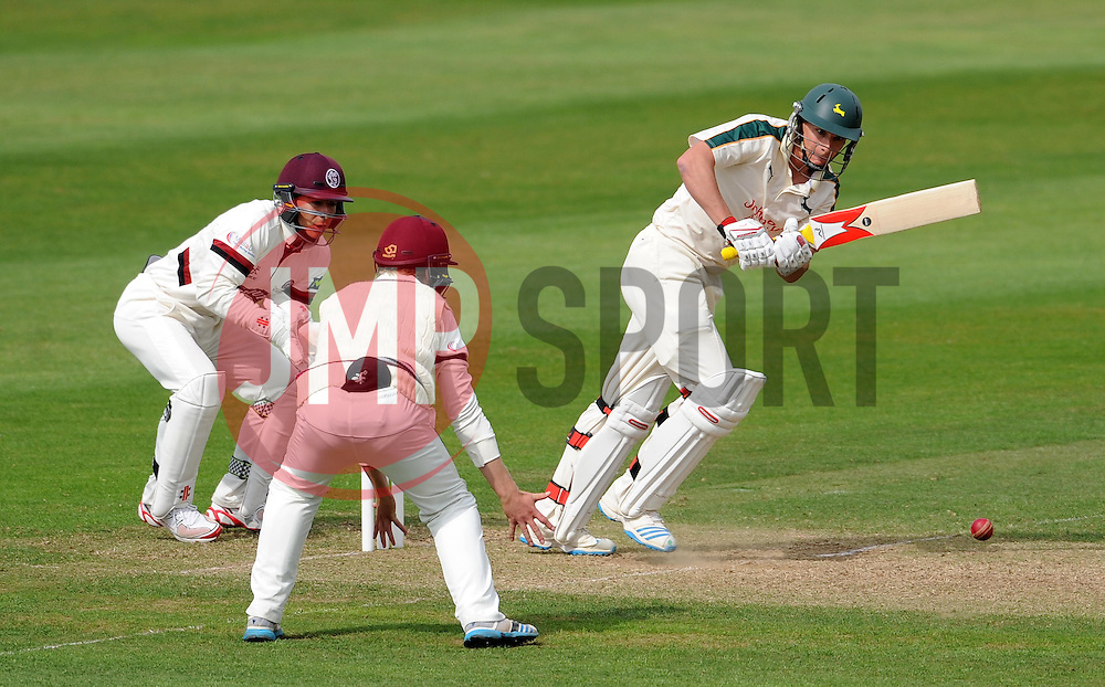 Nottinghamshire's Will Gidman flicks the ball - Photo mandatory by-line: Harry Trump/JMP - Mobile: 07966 386802 - 14/06/15 - SPORT - CRICKET - LVCC County Championship - Division One - Day One - Somerset v Nottinghamshire - The County Ground, Taunton, England.
