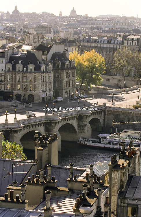 France. Paris. Elevated view on the Seine river. Seine river quay and city island view  from Saint Gervais Saint Protee church  Paris  France Paris