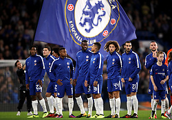 Chelsea's players line up before the game