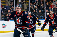 KELOWNA, BC - JANUARY 11: Connor Zary #18 of the Kamloops Blazers celebrates a goal against the Kelowna Rockets at Prospera Place on January 11, 2020 in Kelowna, Canada. (Photo by Marissa Baecker/Shoot the Breeze)