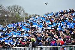 A general view of Bath fans in the crowd showing their support - Photo mandatory by-line: Patrick Khachfe/JMP - Tel: Mobile: 07966 386802 06/04/2014 - SPORT - RUGBY UNION - The Recreation Ground, Bath - Bath Rugby v Brive - Amlin Challenge Cup.