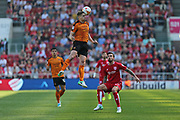 Wolverhampton Dave Edwards (4) leaps high for the ball first half during the EFL Sky Bet Championship match between Bristol City and Wolverhampton Wanderers at Ashton Gate, Bristol, England on 8 April 2017. Photo by Gary Learmonth.