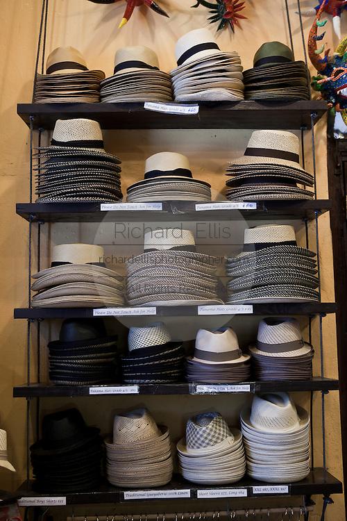 Panama hats on display in Old San Juan, Puerto Rico