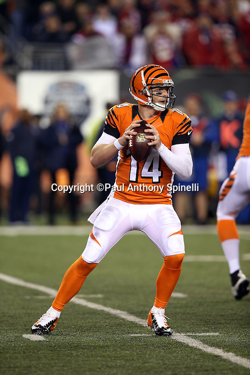 Cincinnati Bengals quarterback Andy Dalton (14) drops back to pass and throws for a second quarter first down during the 2015 week 10 regular season NFL football game against the Houston Texans on Monday, Nov. 16, 2015 in Cincinnati. The Texans won the game 10-6. (©Paul Anthony Spinelli)