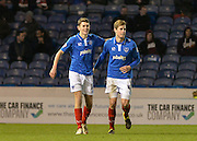 Portsmouth midfielder Ben Tollitt and Portsmouth defender Adam Webster celebrate during the Sky Bet League 2 match between Portsmouth and York City at Fratton Park, Portsmouth, England on 24 November 2015. Photo by Adam Rivers.