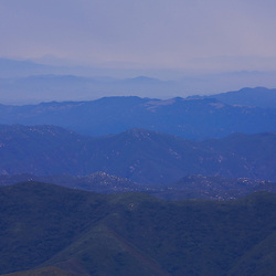 View from atop Santiago Peak looking south. Saddleback Mountain, CA.