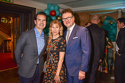 Left to right, Jimmy Carr and Karoline Copping at the launch of the Fortnum & Mason Christmas & Other Winter Feasts Cook Book by Tom Parker Bowles held at Fortnum & Mason, 181 Piccadilly, London, England. 17 October 2018.