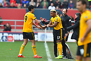 Substitution - Raul Jimenez (9) of Wolverhampton Wanderers is replaced by Adama Traore (37) of Wolverhampton Wanderers during the The FA Cup 5th round match between Bristol City and Wolverhampton Wanderers at Ashton Gate, Bristol, England on 17 February 2019.