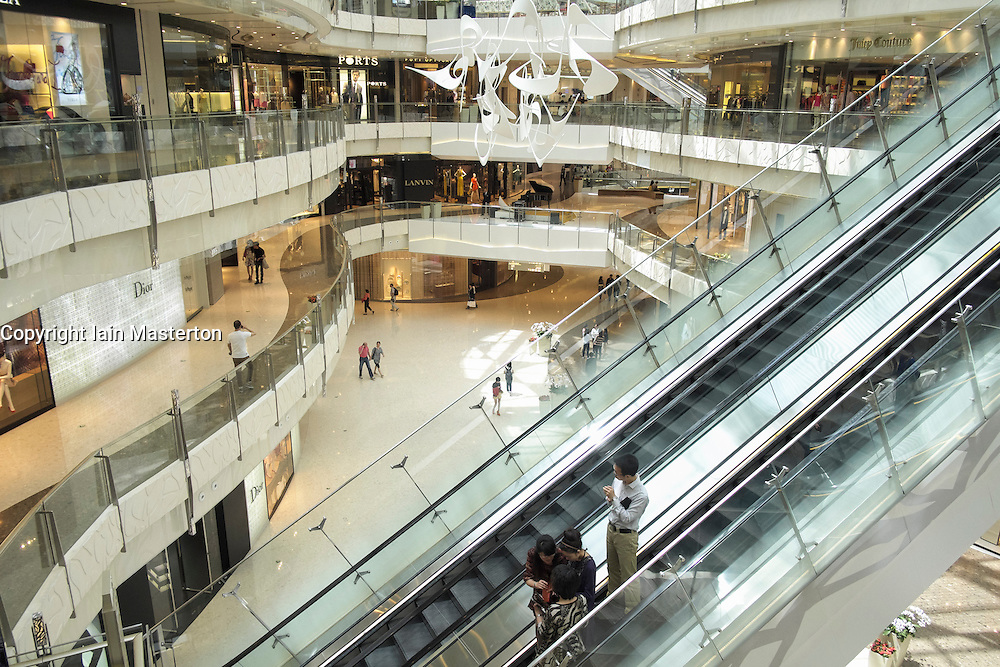 Interior of upmarket IFC shopping mall in Lujiazui financial district of Pudong in Shanghai China