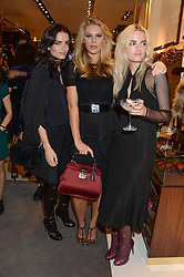 Left to right, MIRANDA KILBEY, CHLOE HAYWARD and ELEKTRA KILBEY at a party hosted by Gucci & Clara Paget to drink a new cocktail 'I Bamboo You' held at Gucci, 34 Old Bond Street, London on 16th October 2013.
