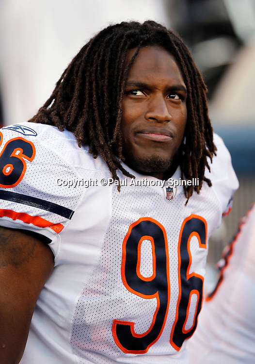 Chicago Bears rookie defensive end Barry Turner (96) looks on during a NFL week 1 preseason football game against the San Diego Chargers, Saturday, August 14, 2010 in San Diego, California. The Chargers won the game 25-10. (©Paul Anthony Spinelli)