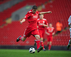 LIVERPOOL, ENGLAND - Saturday, January 8, 2011: Liverpool's captain Conor Coady in action against Crystal Palace during the FA Youth Cup 4th Round match at Anfield. (Pic by: David Rawcliffe/Propaganda)