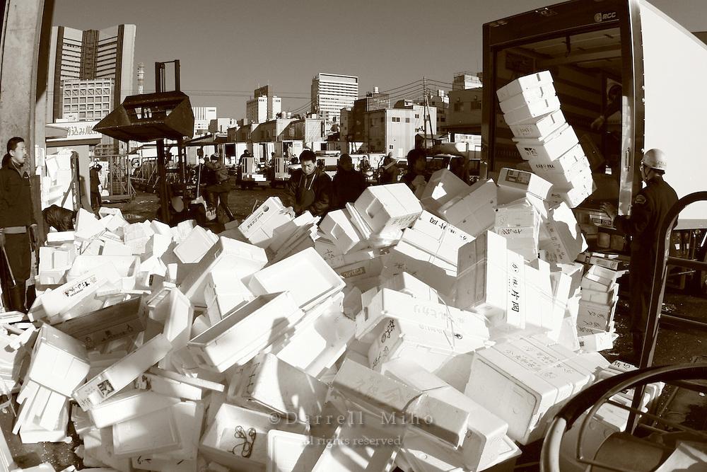 Mar 4, 2006; Tokyo, JPN; Tsukiji.Workers recycle foam containers at the Tsukiji Fish Market...Photo credit: Darrell Miho