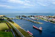 Nederland, Zeeland, Zeeuws-Vlaanderen, 19-10-2014; Terneuzen, Kanaal Gent - Terneuzen. Ingang kanaal en sluizen gezoen naar de Westerschelde. <br /> Channel Gent - Terneuzen, entrance and locks.<br /> luchtfoto (toeslag op standard tarieven);<br /> aerial photo (additional fee required);<br /> copyright foto/photo Siebe Swart