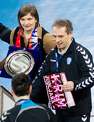 Ana Mihaela Ciora and Tone Tiselj, head coach of Krim Mercator prior to the handball match between RK Krim Mercator and CS Oltchim RM Valcea (ROU) of Women's EHF Champions League 2011/2012, on February 4, 2012 in Arena Stozice, Ljubljana, Slovenia. (Photo By Vid Ponikvar / Sportida.com)