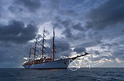 The historic Sea Cloud, a tall ship once owned by Marjorie Merriweather Post anchored in the Caribbean Sea.