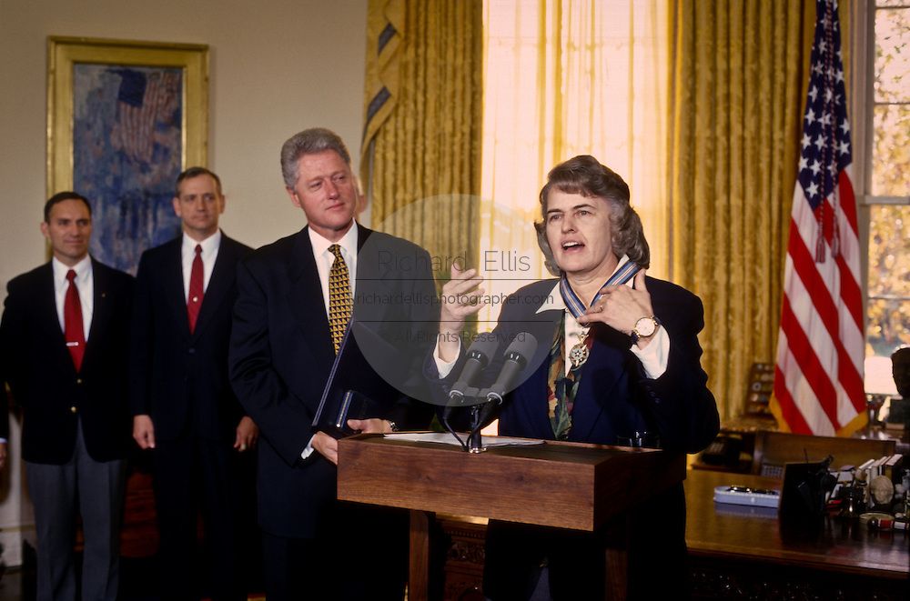 Dr. Shannon Lucid speaks after being awarded the Congressional Space Medal of Honor by President Bill Clinton December 2, 1996, at the White House in Washington.