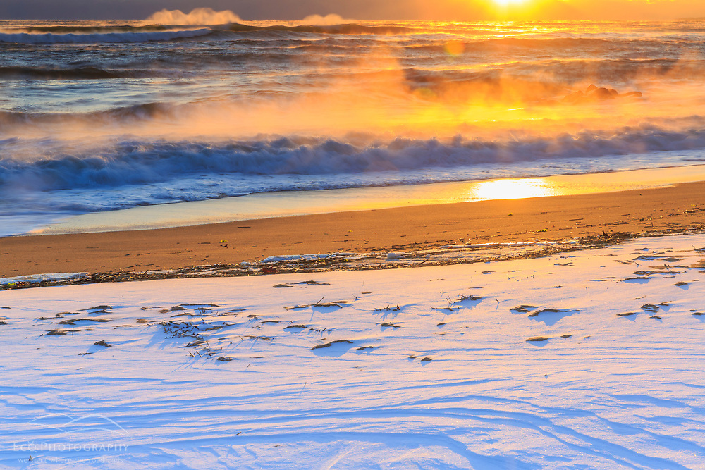 High surf after a winter storm on Plum Island in Newburyport, Massachusetts. Sunrise.