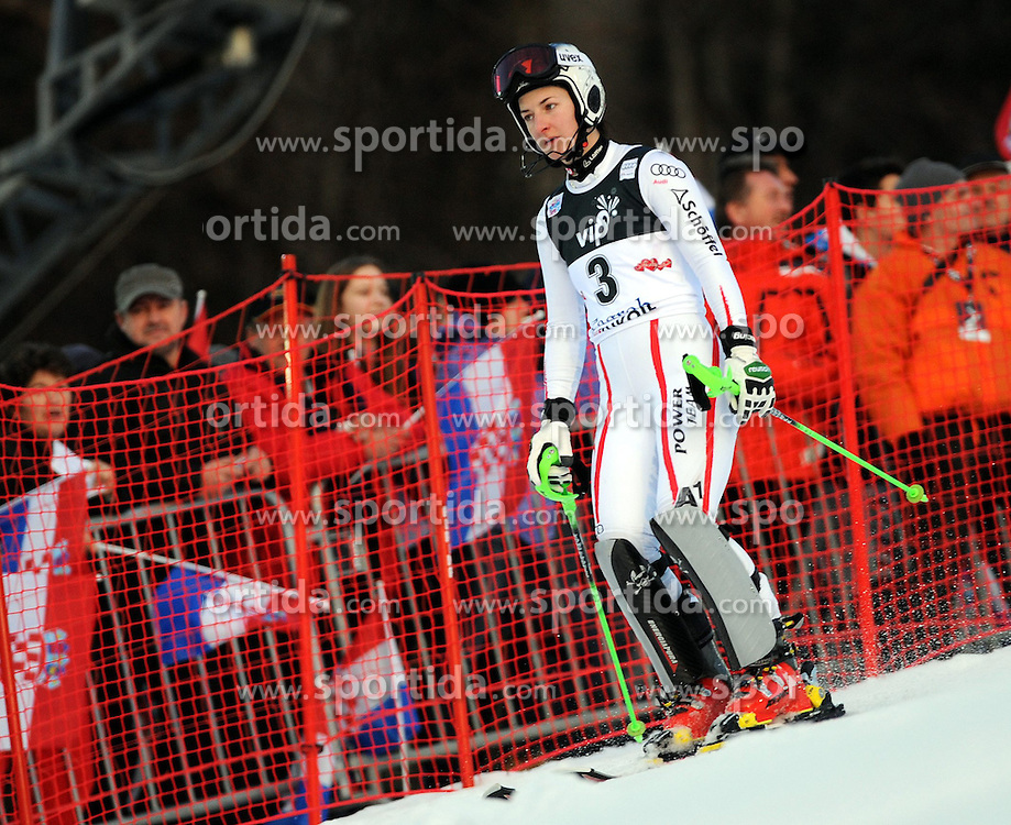 04.01.2013, Crveni Spust, Zagreb, AUT, FIS Ski Alpin Weltcup, Slalom, Damen, 1. Lauf, im Bild Kathrin Zettel (AUT) // Kathrin Zettel of Austria  in action during 1st Run of the ladies Slalom of the FIS ski alpine world cup at Crveni Spust course in Zagreb, Croatia on 2013/01/04. EXPA Pictures © 2013, PhotoCredit: EXPA/ Erich Spiess