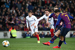 January 30, 2019 - Barcelona, Spain - Philippe Coutinho scores a penalty during the match between FC Barcelona and Sevilla FC, corresponding to the secong leg of the 1/4 final of the spanish cup, played at the Camp Nou Stadium, on 30th January 2019, in Barcelona, Spain. Photo: Joan Valls/Urbanandsport /NurPhoto. (Credit Image: © Joan Valls/NurPhoto via ZUMA Press)