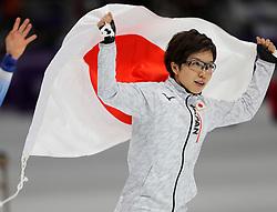 February 18, 2018 - Gangneung, South Korea - Gold medal winner NAO KODAIRA of Japan celebrates after Speed Skating: Ladies' 500m at Gangneung Oval at the 2018 Pyeongchang Winter Olympic Games. (Credit Image: © Scott Mc Kiernan via ZUMA Wire)