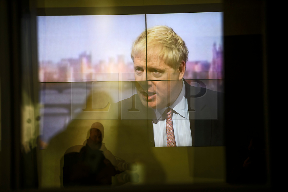 © Licensed to London News Pictures. 08/12/2018. London, UK. Former British Foreign Secretary BORIS JOHNSON is seen on a television screen at BBC Broadcasting House during an appearance on The Andrew Marr Show. Photo credit: Ben Cawthra/LNP